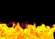 Realistic fire flames on black background. 3D illustration Stock Photo