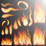 Realistic fire flames set. EPS 10. Fire flame strokes realistic  on transparent background. EPS 10 vector file included Royalty Free Stock Photos