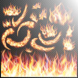 Realistic fire flames set. EPS 10. Fire flame strokes realistic  on transparent background. EPS 10 vector file included Stock Photography