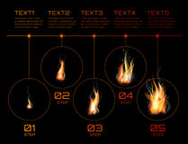 Realistic fire flames set Stock Images