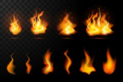 Realistic fire flames set royalty free illustration