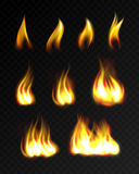 Realistic fire flames set. On transparent background Stock Photos