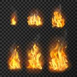 Realistic Fire Flames Set. Set of realistic fire flames of various size with sparks on transparent background  vector illustration Royalty Free Stock Photo