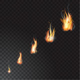 Realistic fire flames set. Vector illustration. Transparent background Royalty Free Stock Photos