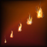Realistic fire flames set. Vector illustration Warm brown background Royalty Free Stock Photography