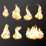 Realistic fire flames set vector on transparent background Stock Photo
