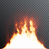Realistic fire flames on transparent background. Special effects. Vector illustration. Translucent elements. Transparency grid Royalty Free Stock Images