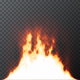 Realistic Fire flames on Transparent grid background. Special effects. Vector illustration. Translucent elements. Transparency grid Stock Photo