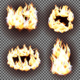 Realistic fire flames vector on transparent background. EPS10 Stock Photography