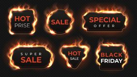 Realistic fire labels. Hot deal and sale offer text banners with shiny flame effect, isolated design objects. Vector