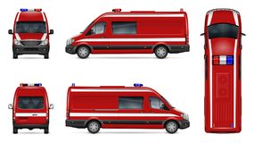 Realistic fire van vector illustration. Fire engine vector mockup on white background. Isolated template of red van for vehicle branding, corporate identity Royalty Free Stock Photography