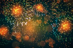Realistic fireworks background in black. Vector Stock Photo