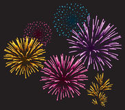Realistic fireworks Royalty Free Stock Images