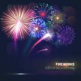 Realistic fireworks explosions with shining sparks. On dark background. Festive template with brightly colorful fireworks and free space for text. Pyrotechnics royalty free illustration
