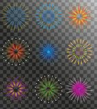 Realistic Fireworks set  on a transparent background. Holiday and party firework icons collection. Vector. Illustration Stock Images