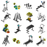 Realistic Fitness Equipment Icons Set. Realistic 3d icons set of different fitness equipments and training apparatus  vector illustration Royalty Free Stock Photos