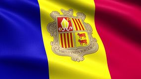 Andorra Looping Flag 4K, with waving fabric texture. Realistic flag of Andorra, Seamless looping with highly detailed fabric texture, 4k resolution stock video footage