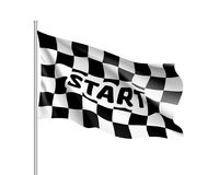 Realistic flag auto racing, inscription start. Waving banner. Symbol of start and finish of race cars on route. Vector illustration of chess canvas Stock Photo