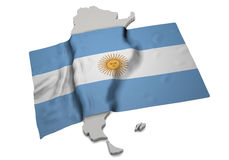 Realistic flag covering the shape of Argentina (series) Royalty Free Stock Photos