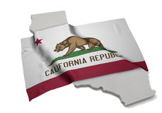 Realistic flag covering the shape of California (series) Royalty Free Stock Photos