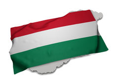 Realistic flag covering the shape of Hungary (series) Royalty Free Stock Image