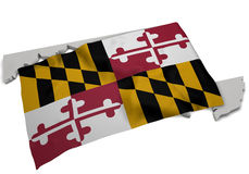 Realistic flag covering the shape of Maryland (series) Royalty Free Stock Image