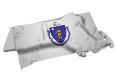 Realistic flag covering the shape of Massachusetts (series) Royalty Free Stock Photography