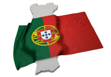 Realistic flag covering the shape of Portugal (series) Royalty Free Stock Photo