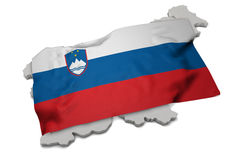 Realistic flag covering the shape of Slovania (series) Royalty Free Stock Photos