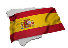Realistic flag covering the shape of Spain (series) Stock Image