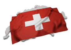 Realistic flag covering the shape of Swiss (series) Stock Image