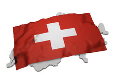 Realistic flag covering the shape of Switzerland (series) Stock Photography
