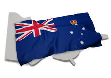 Realistic flag covering the shape of Victoria (series) Stock Photo