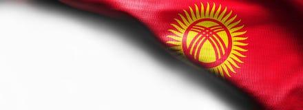 Realistic flag of Kyrgyzstan on white background - right top corner flag. Realistic flag of Kyrgyzstan on white background - right top corner stock image