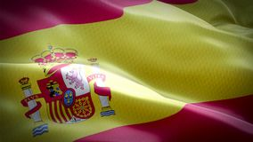Realistic flag of Spain waving with highly detailed fabric texture stock video footage