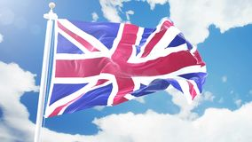 Realistic flag of United Kingdom waving against time-lapse clouds background. Seamless loop in 4K resolution with. Ultra HD Realistic flag of United Kingdom stock footage