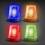 Realistic Flasher Siren Set Vector. Red, Orange, Green, Blue. 3D Realistic Object. Light Effect. Rotation Beacon Royalty Free Stock Photography