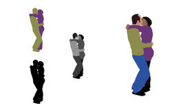 Realistic flat colored illustration of a french kissing couple Stock Images