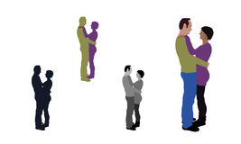 Realistic flat colored illustration of a hugging couple Stock Images