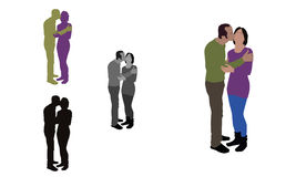 Realistic flat colored illustration of a kissing couple Stock Images