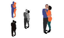 Realistic flat colored illustration of a woman kissing her partner Stock Image