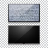 Realistic  flat lcd television vector set. Off TV with empty black screen. And static tv  black and white noise with glitch effect royalty free illustration