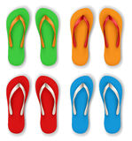 Realistic flip flop set. With different color combinations royalty free stock image