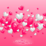 Realistic floating 3D Valentine hearts background. Realistic floating 3D Valentine hearts pink background with happy Valentines day greetings. Vector royalty free illustration