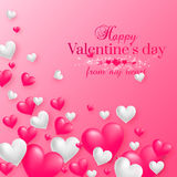 Realistic floating 3D Valentine hearts background. Realistic floating 3D Valentine hearts pink background with happy Valentines day greetings. Vector Royalty Free Stock Images