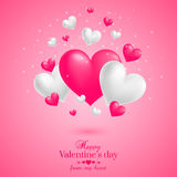 Realistic floating 3D Valentine hearts background. Realistic floating 3D Valentine hearts pink background with happy Valentines day greetings. Vector Stock Images