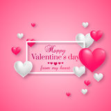 Realistic floating 3D Valentine hearts. On pink background with happy Valentines day greetings. Vector Illustration Royalty Free Stock Photos