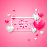 Realistic floating 3D Valentine hearts. On pink background with happy Valentines day greetings. Vector Illustration Royalty Free Stock Photo