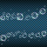 Soap bubbles background. Realistic floating soap bubbles with rainbow reflection on transparent background. Design element for advertising booklet, flyer or royalty free illustration