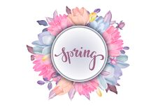 Realistic floral background with beautiful flowers isolated on w. Hite background stock illustration